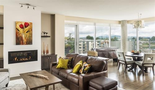 Condo views in Sidney, BC. Designer credit: TJ Interior Design