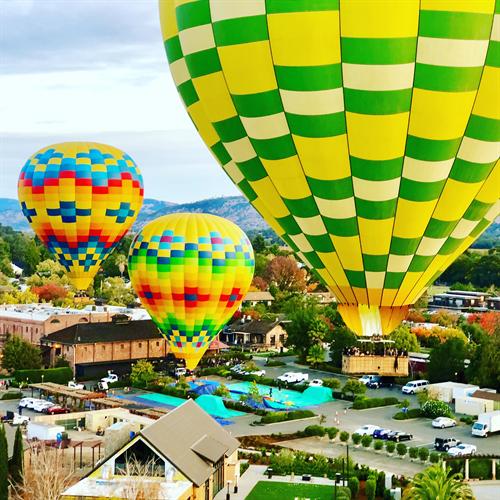 Hot air balloon ride amongst many balloons, November 2018