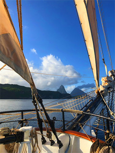 Sailing near the St. Lucia Pitons, August 2018