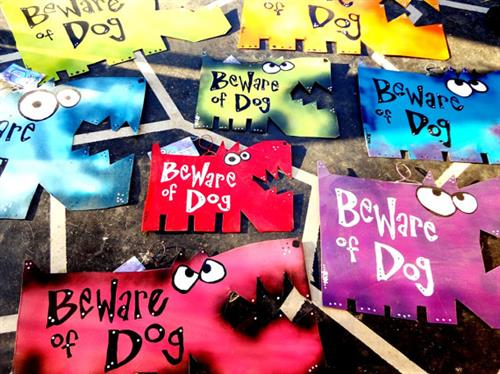 Rynski artwork: Best-selling Beware of Dogs signs. More at Rynski.Etsy.com.