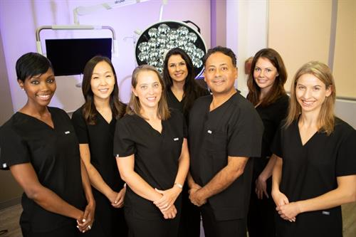 Some of the team of providers at Modern ObGyn, from left to right Dr. Natu Mmbaga, Dr. Annie Kim, Dr. Ingrid Reyes, Dr. Stacey Pereira, Dr. John Reyes, Dr. Christy Kenkel and Nurse Midwife Nuria Nelkin. Pictured here in our surgical suite in the Johns Creek office. Our minimally invasive surgery options allow for faster recovery times and are overall much more convenient to our patients.