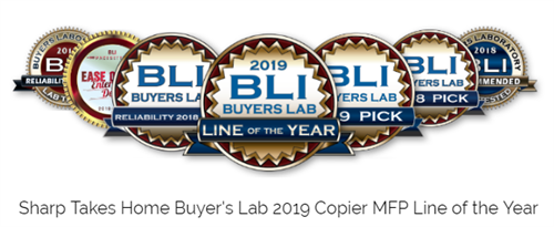 Sharp copier awards 2019 through Buyer's Lab - #1 brand for copiers in Atlanta