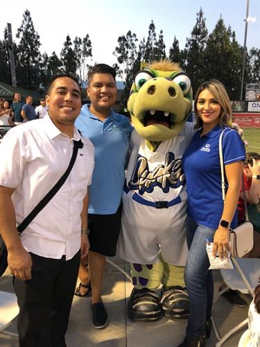 TEAM members networking while having fun at Quakes Game 2018