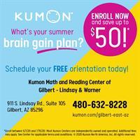 FREE Registration at Kumon of Gilbert-Lindsay & Warner until July 15!