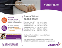 Town of Gilbert to Host Monthly Blood Drives Partnered with Vitalant