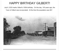Happy Birthday Gilbert! - Have You Found a Centennial Rock or got your Centennial Merch yet?