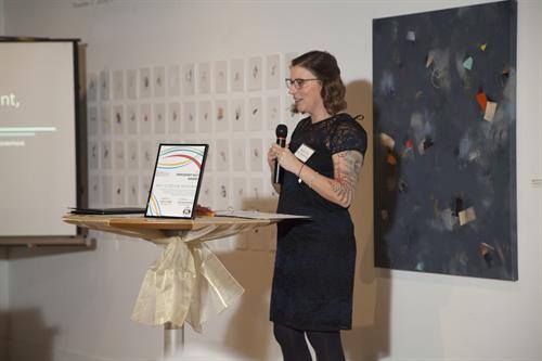 Executive Director/Managing Attorney Sarah Yore-Van Oosterhout speaking at fundraising dinner