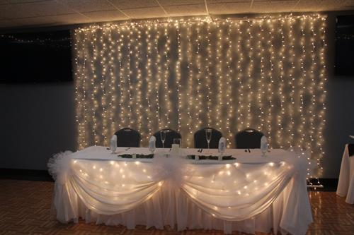 Lighted backdrop for a reception