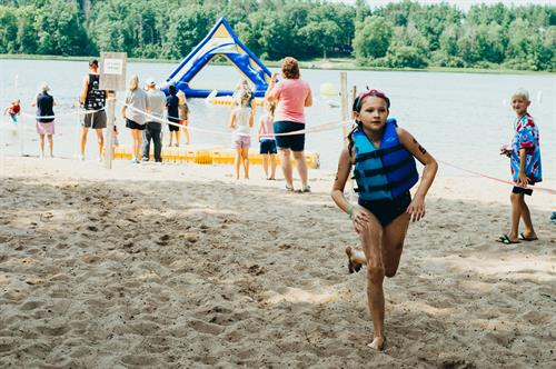 Our beach front plays host to our yearly Triathlon and Adventure races as well as daily swimming and boat/kayak rentals. On Saturdays, family camp kids are invited to compete in our famed Frog and Turtle Races!