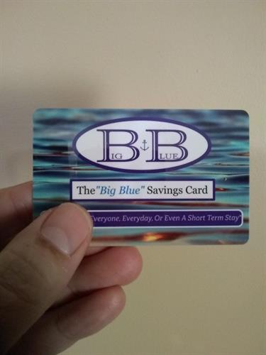 BIG BLUE SAVINGS CARD- SHOP. DINE. SAVE. GIVE. $25 PER YEAR pURCHASE ONLINE AT WWW.BIGBLUESAVINGSCARD.COM/SHOP)