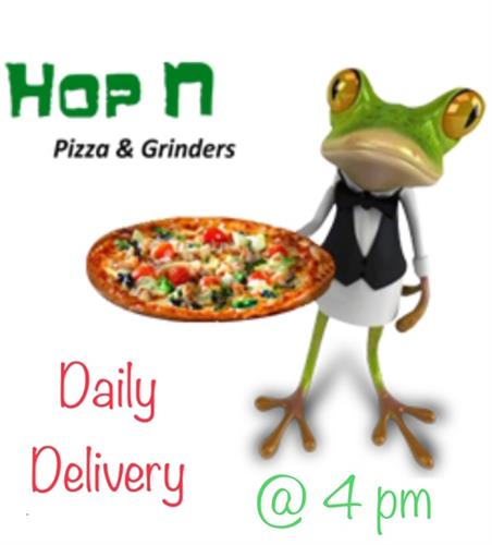 HOP N PIZZA N GRINDERS- FREE APPETIZER UP TO $8 WITH PURCHASE OF 2 ENTREES OR A LARGE PIZZA (CARDS FOR SALE HERE)