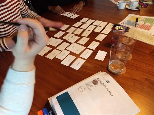 A team working through a team culture activity.