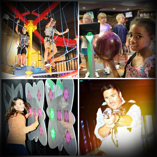 Indoor Ropes Course. Bowling. Arcade. Laser Tag. And More! Indoor Fun for Everyone!