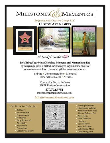 NEW service offering: Milestones and Mementos Custom Memorial-Tribute-Commemorative Artwork