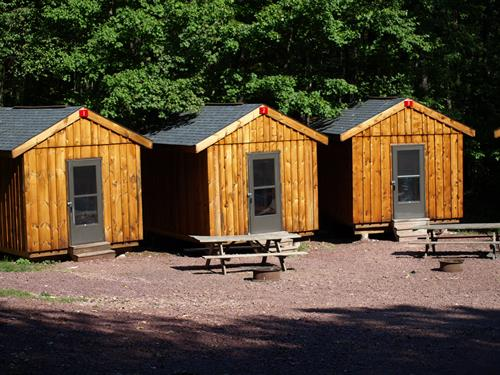 Rustic bunkhouses available to rent at the Adventure Center