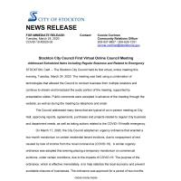 News Release - Summary of Actions Taken at Stockton City Council  First Virtual Online Council Meeting