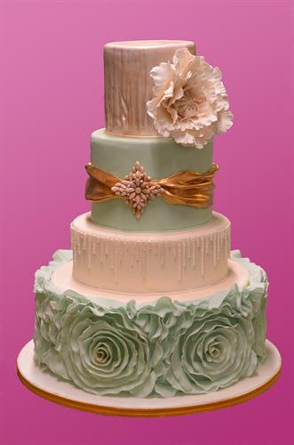 Huascar & Co. Bakeshop Wedding Cake with Sugar Paste Ruffles