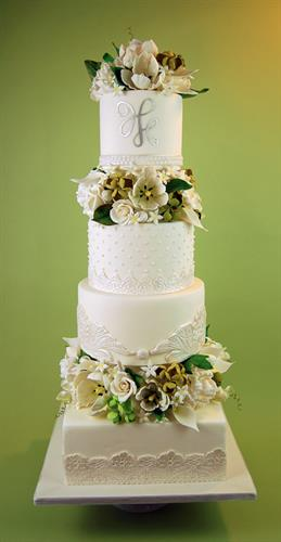 Huascar & Co. Bakeshop Wedding Cake with Handmade Sugar Paste Flowers