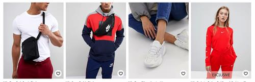 Asos Nike collaboration styling - Asos website 2019