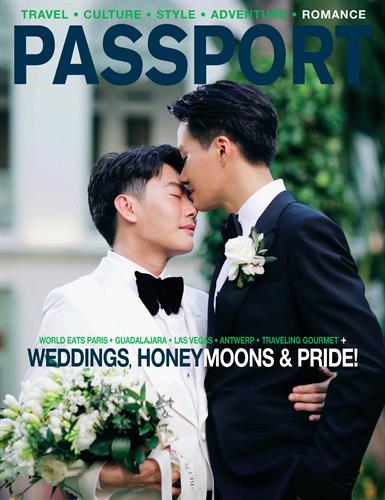 "June 2021 Cover for ""Gay Weddings & Honeymoon Destinations"""