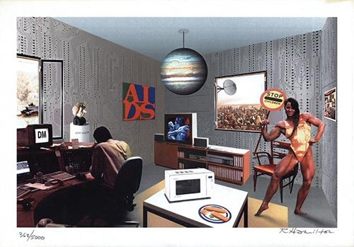 "Richard Hamilton, ""Just what is it that makes today's homes so different?"" 1993, Electronically acquired and contone mode laser printing on paper. Foundation Purchase. Collection of Leslie-Lohman Museum. Image © artist."