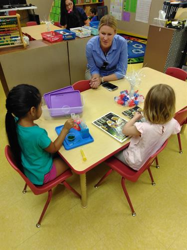 Visiting an early learning center in the district.
