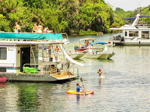 Enjoy a houseboat cruise to Silver Glen Springs, one of the most popular destinations on the St. Johns River.