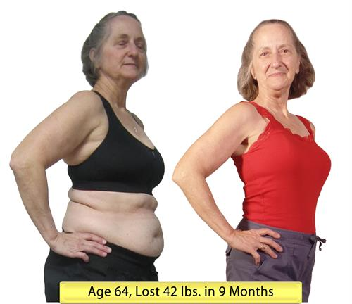 Personal Training Member at age 64 lost 42 lbs.
