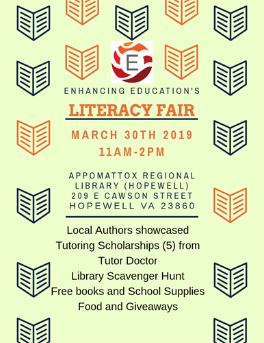 Enhancing Education's literacy fair where we gave 5 literacy tutoring scholarships for Tutor Doctor to children in Hopewell VA in 2019