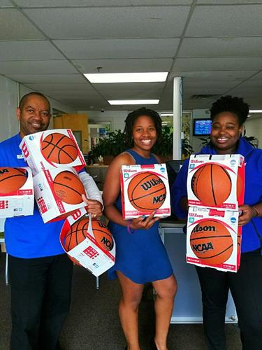 Enhancing Education's donation of basketball's to Manchester YMCA 2018.