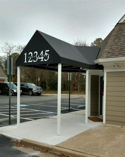 Entrance Awning with Mitre and Graphics