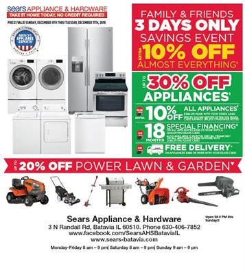 33739bd8aa2 Sears Appliance and Hardware - Sears Batavia Family   Friends Event Dec. 9  thru Dec. 11 - Hot Deal - Batavia Chamber of Commerce