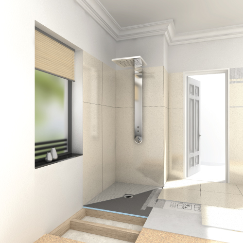 wedi Fundo Ligno Shower Base - Curbless Shower