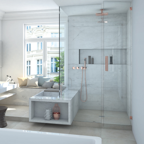 wedi Fundo Primo Shower Baes - Curbed Shower with Prefabricated wedi Shower Niche