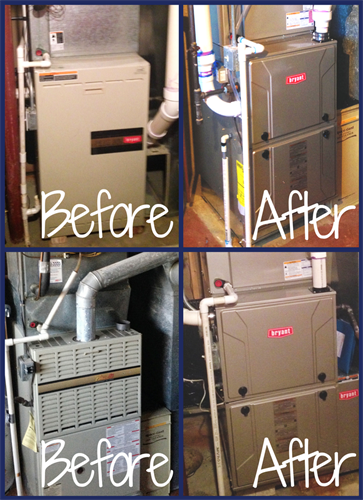Before and After High Efficiency Furnace