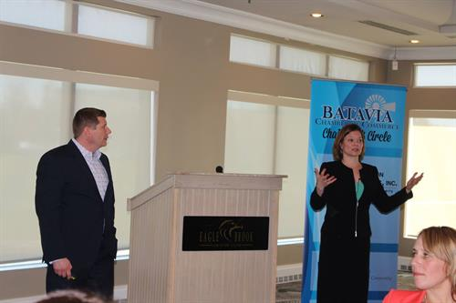 Leah & Sean are frequent speakers, here speaking at the Batavia Women in Business luncheon