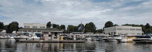 View of Beacon Point Marine and Greenwich Water Club from the Mianus River