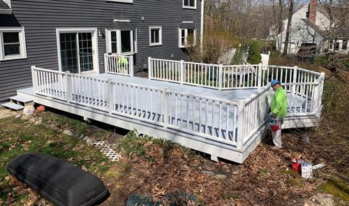 Painters finished staining this deck just in time for summer!