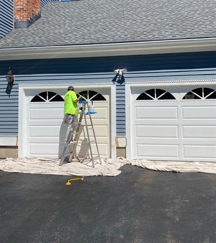 Garage painting in progress.