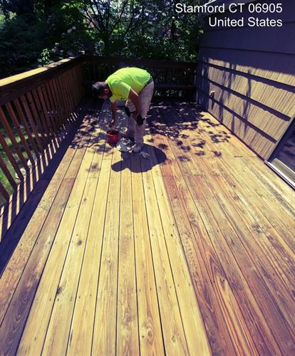 Deck sanding before a new stain job for a repeat customer.
