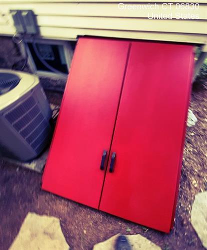Freshly painted door in a beautiful red!