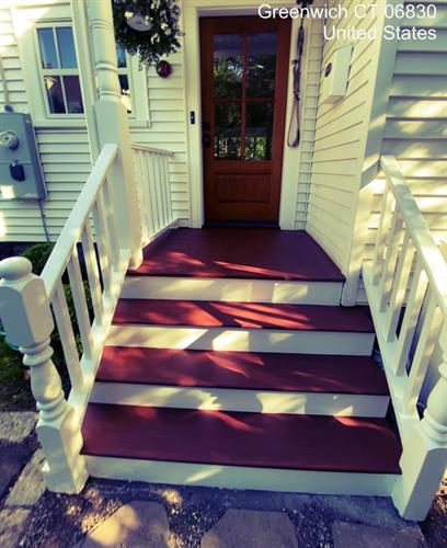 Freshly stained steps are perfect for welcoming you home!