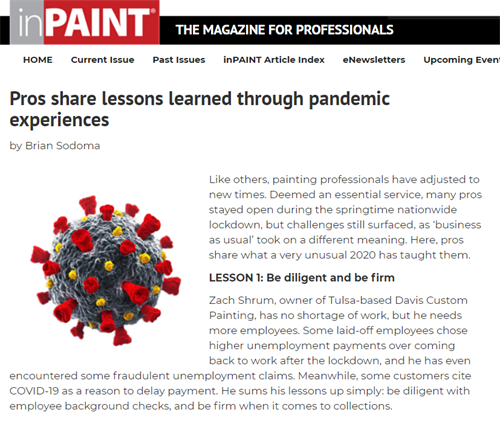 MDF has been featured in InPaint Magazine several times! This is our most recent article!