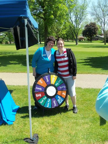 Spin the prize wheel at the golf outing