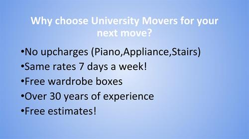Good reasons to use University Movers
