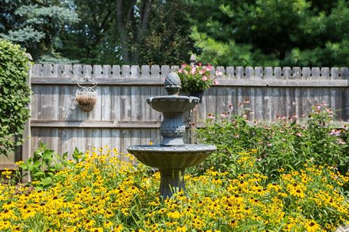 Water fountain in the flower garden outside the patient rooms