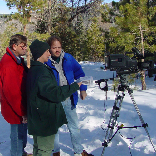 On location in San Bernadino Mountains filming  training video for the U.S. Forest Service