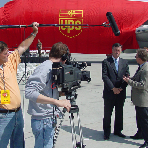 On location at Ontario Airport Filming a Public relations video