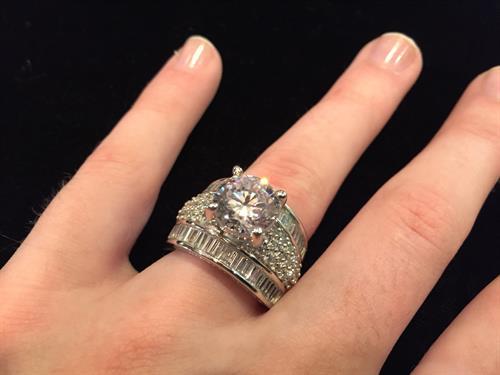 13CT Diamond Simulant Wedding set (Designer) Size7
