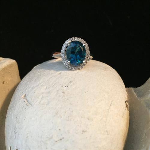 2.60CT London Blue Topaz/White Zircon Ring in Sterling Silver size7